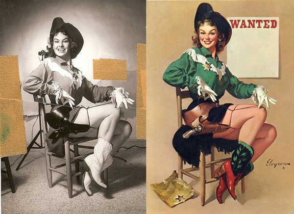 Gil Elvgren: Pin-up Girls przed i po